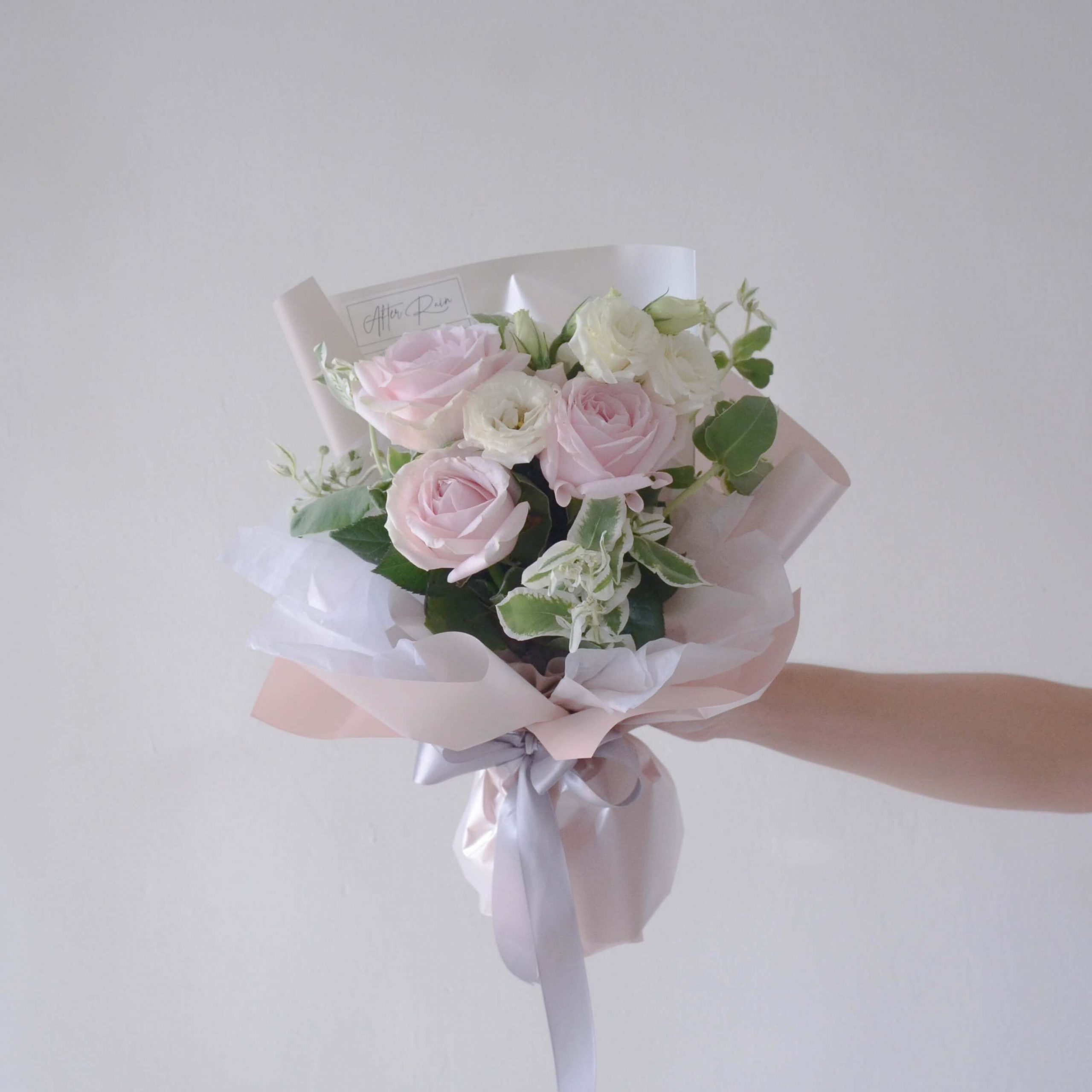 Fresh Bloom Bouquet featuring Avalanche Pink Rose, White Lisianthus & Variegated Euphorbia Marginata Leaf by AFTERRAINFLORIST