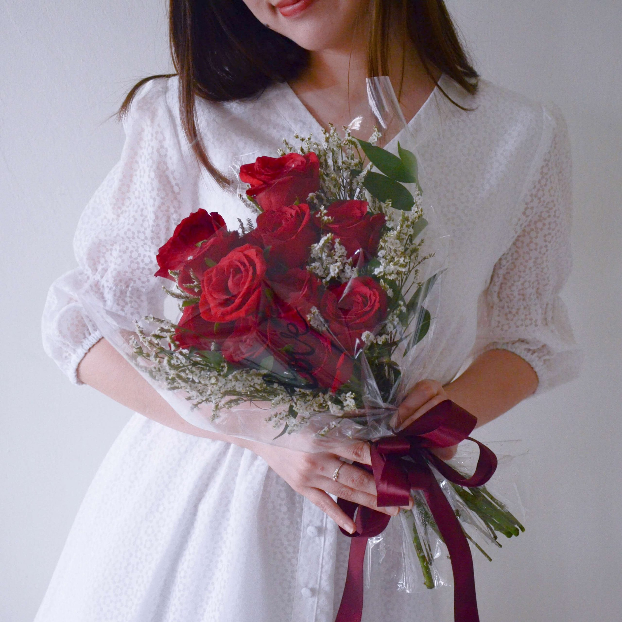 Fresh Red Roses Flower Bouquet by AFTERRAINFLORIST